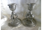 Solid Pair of Pewter Candle Sticks Pil..