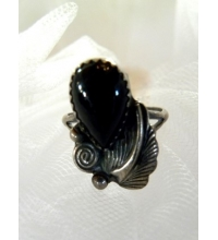 Old Pawn Hand Crafted Ebony  & Sterling Ring