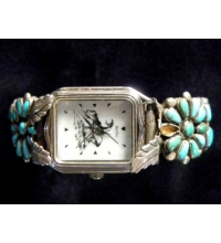 "Old Pawn Turquoise & Sterling ""SelecTime"" Watch  Band Signed ""B.B."" ""End of the Trail"" Motif"