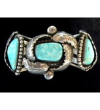 Old Pawn Turquoise & Sterling Signed Hand Crafted Navajo Bracelet