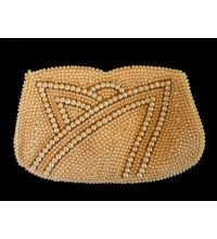 Early 1950's Beautiful Hand Beaded Heavy Faux Seed Pearl Clutch
