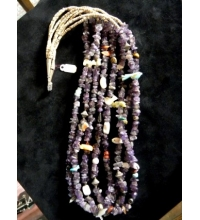 Navajo Amethyst Coral Turquiose Abalone & Precious Stone and Penn Shell Fetish Necklace