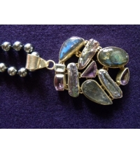 Labradorite, Amethyst, Quartz & Mother of Pearl Sterling Pendant