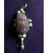 "Drusy Amethyst, Turquoise & Sterling ""925"" Pendant"