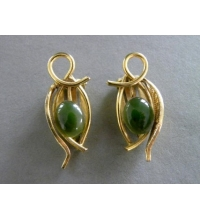 Vintage Gold Tone Jade Cabochon Clip Earrings