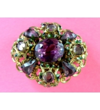 Vintage Rhinestone Amethyst Brooch Brass Filigree Pin Made in Czechoslovakia