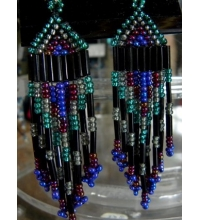 Native American  Beaded Earrings  Blue Black Ruby & Aqua