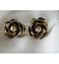 "Gold Filled Faux Pearl & Rose Box Earrings ""Coro"""