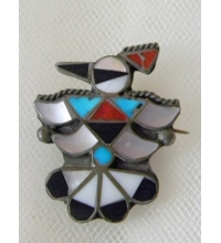 Old Pawn Sterling Onyx Coral Mother of Pearl & Turquoise Inlay Zini Thunderbird  Brooch