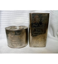 Vintage Pair of Engraved Silver Plate English Breakfast Tea Oval & Rectangle Tins