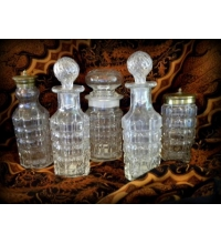 Press Glass Serving Set of 5 Pressed Glass Condiments Set