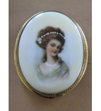 Antique Hand Painted Porcelain Brooch /Pendant 26