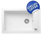 Lingot 1 Bowl Inset White Ceramic Sink Details