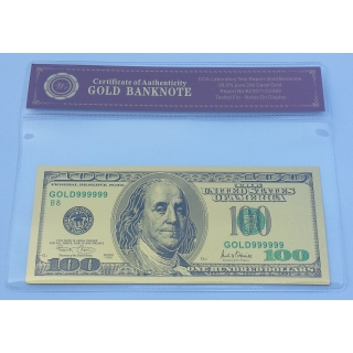 Colourised 100 USD 24K Gold Plated Banknote *only banknote*