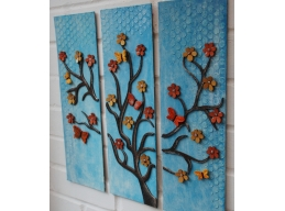 3 Panel Wall Art - Trees, Butterflies and Flowers
