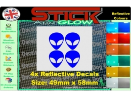 Reflective Alien Heads Stickers | Stick and Glow Reflective Decals
