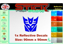 Reflective TRANSFORMER / DECEPTICON LOGO Sticker. | Stick and Glow Reflective Decals