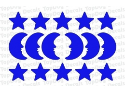 Reflective Stars and Moons Decal Set | Stick and Glow Reflective Decals