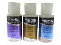 DecoArt 3 x Media Interference Paints - Gold, Blue & Violet