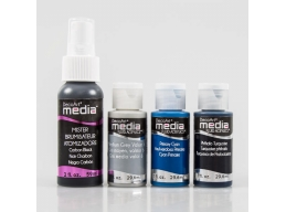 DecoArt Media Colour 3 x Acrylic Paints Grey, Cyan & Turquoise, 1 x Black Mister