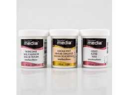 DecoArt 3 Pack of White Media Mediums - Tinting Base, Crackle Paint & Gesso