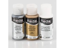 DecoArt Media Line 3 Pack Acrylic Paint - Gold, Silver & Translucent White