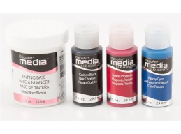 DecoArt 3x Media Fluid Acrylics Paints Base Colours & 1x Tinting Base