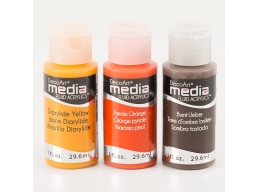 DecoArt 3 x Media Paints - Burnt Umber, Diarylide Yellow & Pyrrole Orange