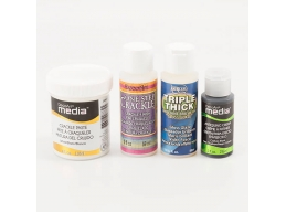DecoArt 4 x Mediums - One Step Crackle, Triple Thick Gloss, Antiquing Cream & White Crackle Paste ..