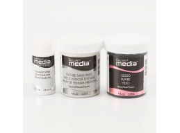 DecoArt Media Texture & Gesso Pack - Texture Sand Paste, Black Gesso & Translucent White Paint Set..