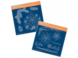 Jayne's Poinsettia Set A5 Square Groovi Plate set of 2