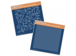 Leafy Swirl & Large Netting A5 Square Groovi Plates Set of 2