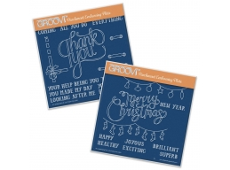 Thank You & Merry Christmas Set A5 Square Groovi Plates Set of 2