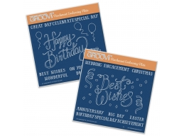 Happy Birthday & Best Wishes Set A5 Square Groovi Plates Set of 2