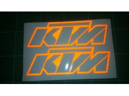 2x Reflective KTM Stickers Decals | Stick and Glow Reflective Decals