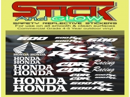 REFLECTIVE Honda CBR 600rr racing 26 piece Decal Stickers Kit | Stick and Glow Reflective Decals