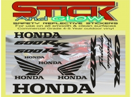 Reflective HONDA Fireblade CBR 600 rr decal sticker SET moto bike racing kit | Stick and Glow Refl..
