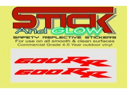 REFLECTIVE set of 2 HONDA CBR 600 rr decal sticker motorcycle bike racing | Stick and Glow Reflect..