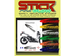 Reflective 2 X Kawasaki Decals Stickers Team Racing Motorbike Motorcycle Ninja | Stick and Glow Re..