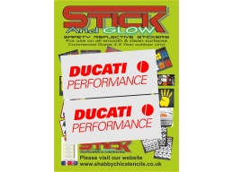 Reflective Ducati Logo Sticker Decal x2 | Stick and Glow Reflective Decals