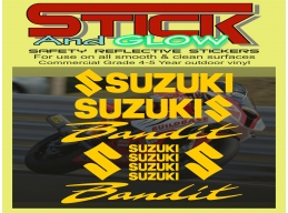 Reflective Suzuki Bandit GSF 600 750 1200 Decal Set Stickers | Stick and Glow Reflective Decals
