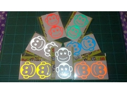 Pair of REFLECTIVE Monkeys stickers/decals | sag273 | Stick and Glow Reflective Decals