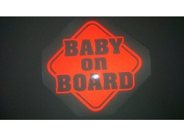 1x Baby On Board - Reflective Sticker XL | 288 | Stick and Glow Reflective Decals