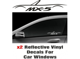 Mazda MX-5 Window Decal Sticker Graphic Reflective Vinyl x2 decals | Stick and Glow Reflective Dec..