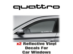 Audi Quattro  Window Decal Sticker Graphic Reflective Vinyl x2 decals | Stick and Glow Reflective ..