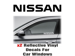 Nissan Window Decal Sticker Graphic Reflective Vinyl x2 decals | Stick and Glow Reflective Decals
