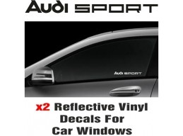 Audi Sport Window Decal Sticker Graphic Reflective Vinyl x2 decals | Stick and Glow Reflective Dec..