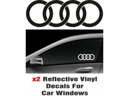 Audi Rings  Window Decal Sticker Graphic Reflective Vinyl x2 decals | Stick and Glow Reflective De..