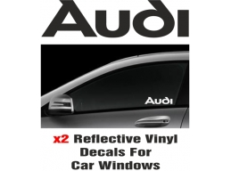 Audi Window Decal Sticker Graphic Reflective Vinyl x2 decals | Stick and Glow Reflective Decals
