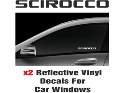 VW Scirocco Window Decal Sticker Graphic Reflective Vinyl x2 decals | Stick and Glow Reflective De..